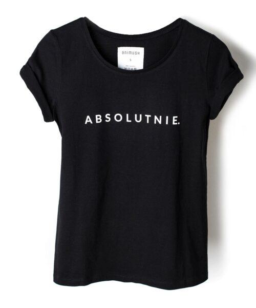 animush t-shirt czarny z nadrukiem absolutnie