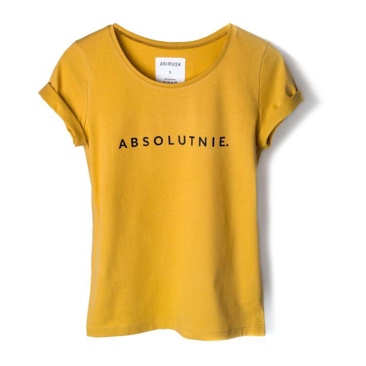 animush t-shirt musztardowy z nadrukiem absolutnie