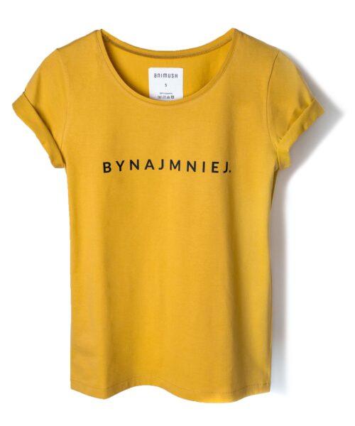animush t-shirt musztardowy z nadrukiem bynajmniej