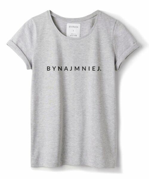 animush t-shirt szary z nadrukiem bynajmniej