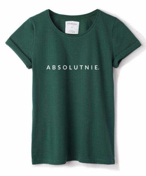 animush t-shirt zielony z nadrukiem absolutnie