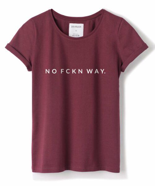 animush t-shirt bordowy z nadrukiem no fckn way