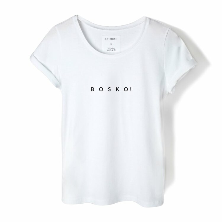 animush t-shirt biały z nadrukiem bosko