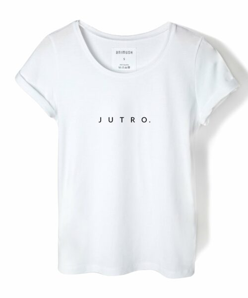 animush t-shirt biały z nadrukiem jutro