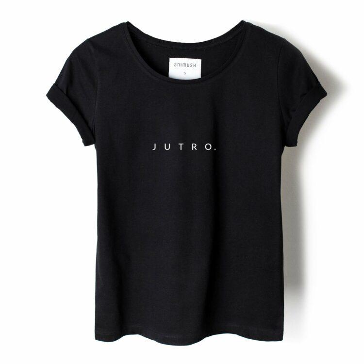 animush t-shirt czarny z nadrukiem jutro