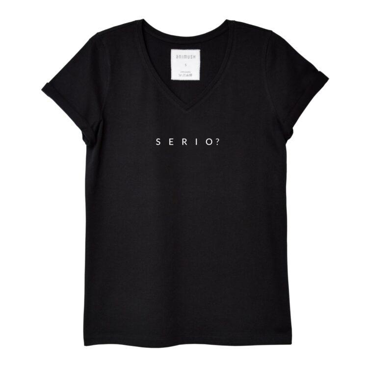 animush t-shirt czarny z nadrukiem serio