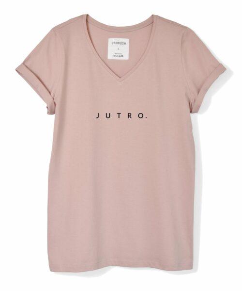 animush t-shirt pudrowy róż z nadrukiem jutro