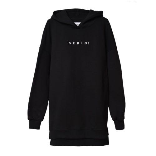 Bluza long z kapturem czarna SERIO?