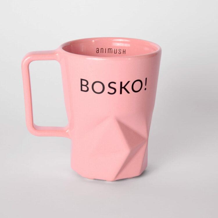 animush kubek różowy z nadrukiem bosko