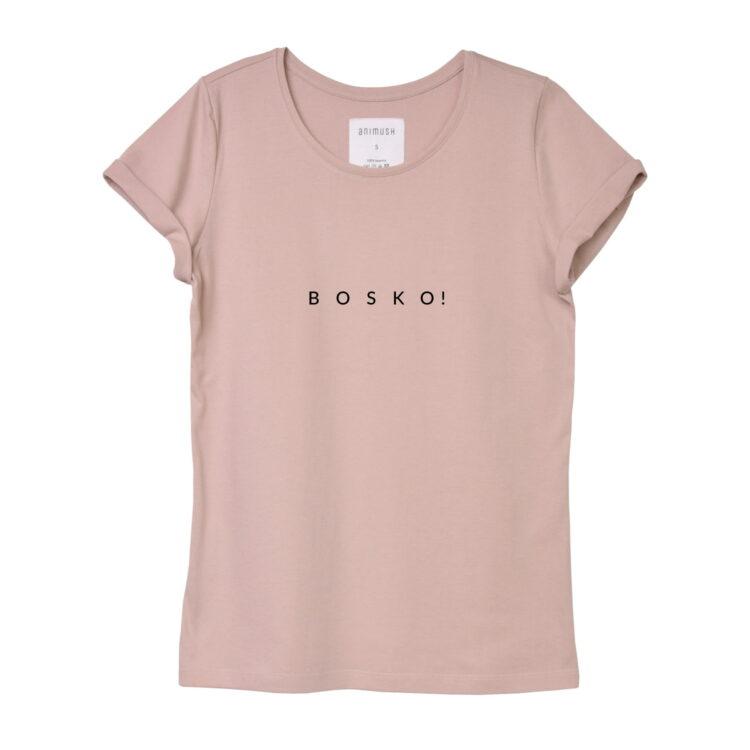 animush t-shirt pudrowy róż z nadrukiem bosko