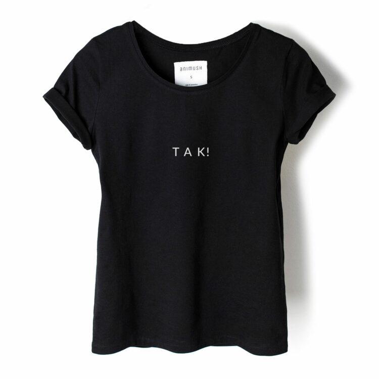 animush t-shirt czarny z nadrukiem tak