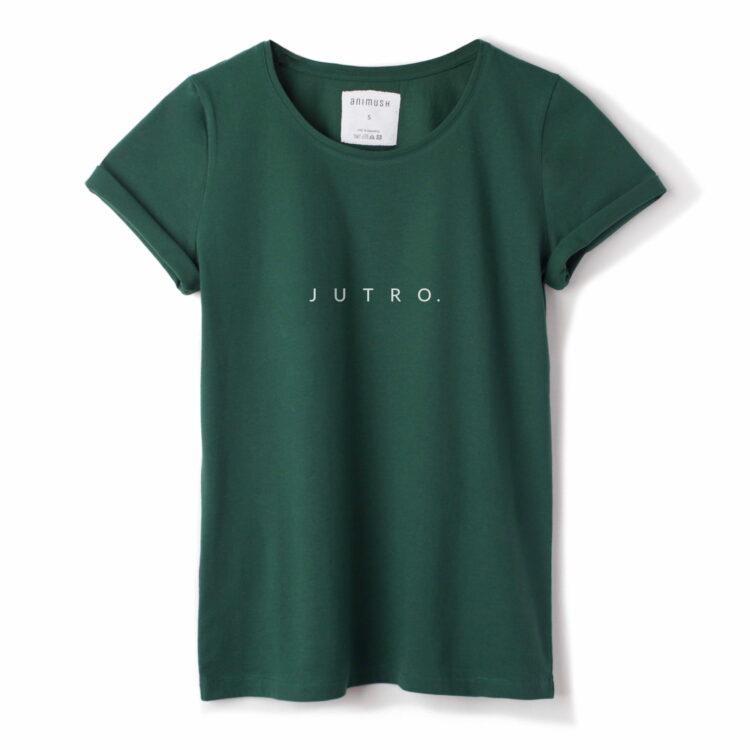 animush t-shirt zielony z nadrukiem jutro