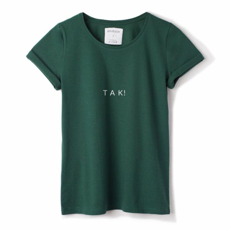animush t-shirt zielony z nadrukiem tak