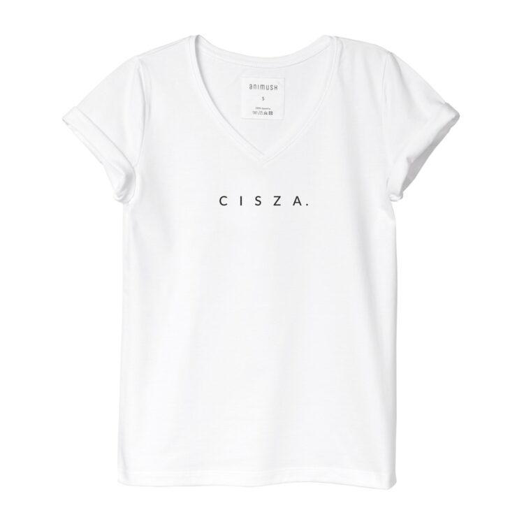 animush t-shirt biały z nadrukiem cisza