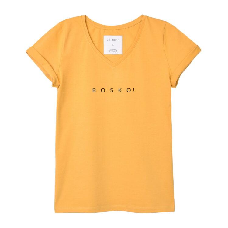 animush t-shirt musztardowy z nadrukiem bosko