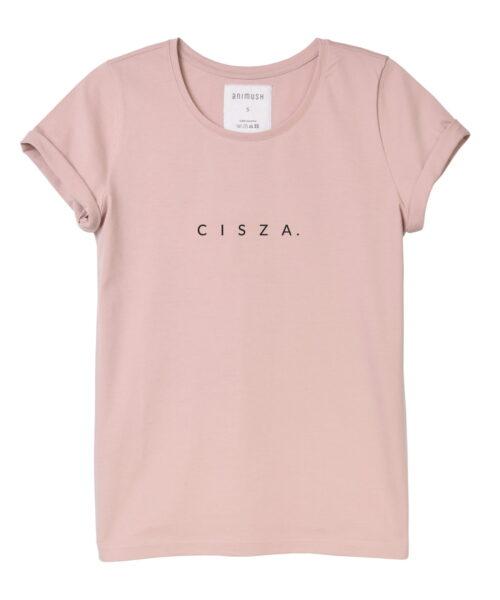 animush t-shirt pudrowy róż z nadrukiem cisza