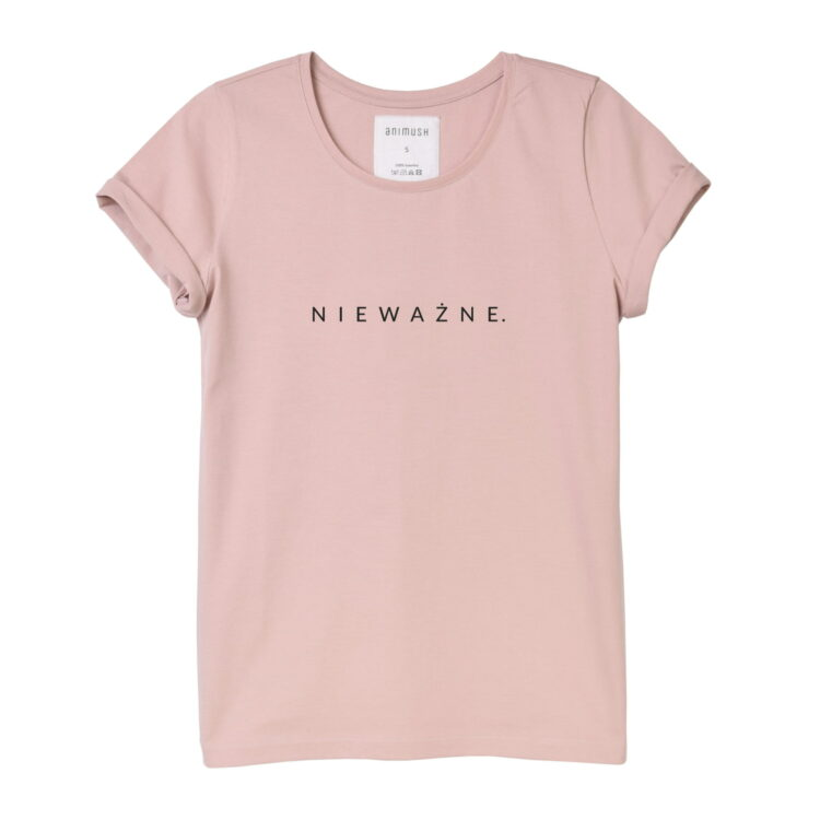 animush t-shirt pudrowy róż z nadrukiem nieważne