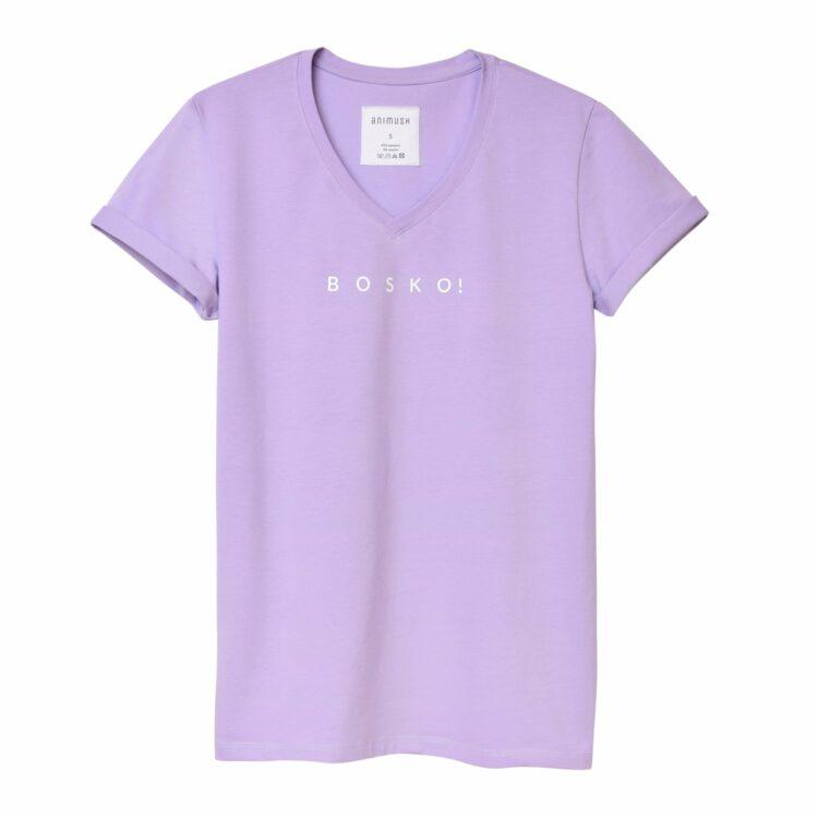 animush t-shirt oversize liliowy z nadrukiem bosko