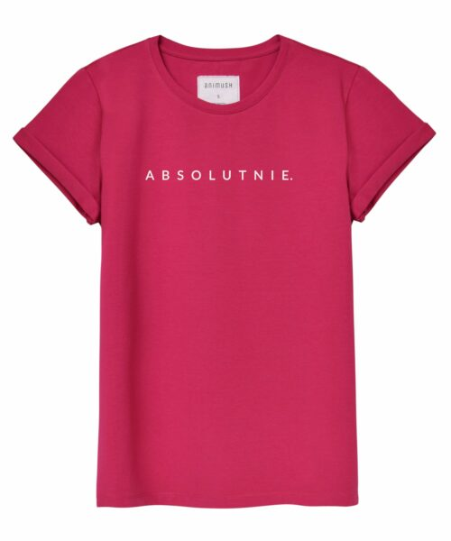 animush t-shirt oversize malinowy z nadrukiem absolutnie