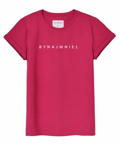 animush t-shirt oversize malinowy z nadrukiem bynajmniej