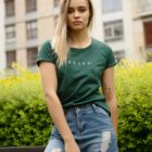 animush t-shirt zielony z nadrukiem bosko