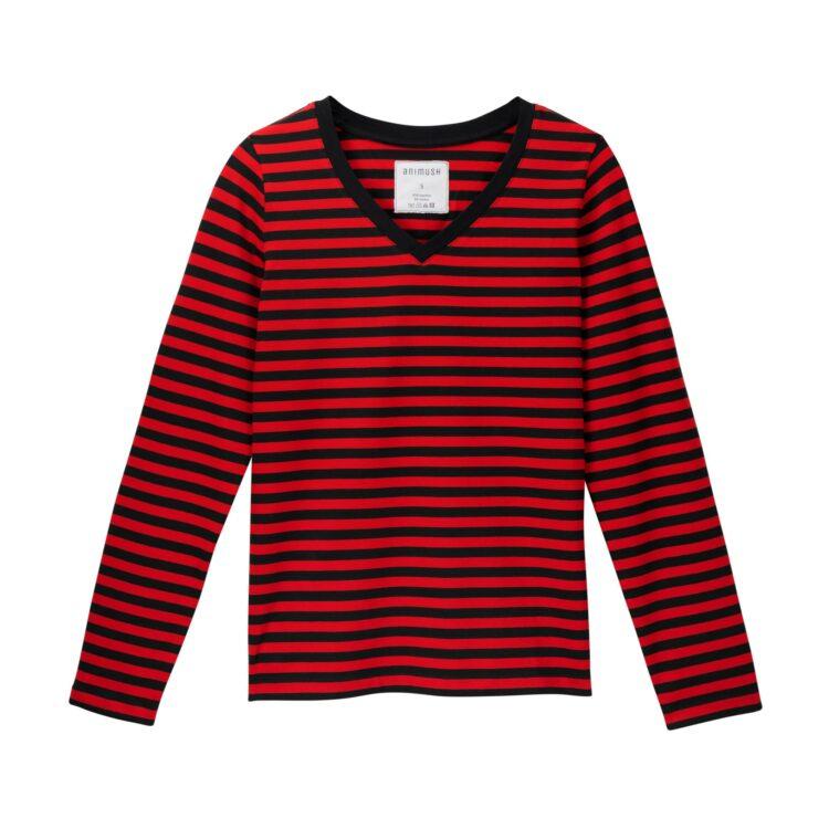 animush longsleeve w czerwono-czarne paski
