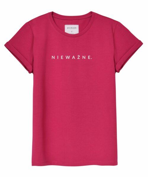 animush t-shirt oversize malinowy z nadrukiem nieważne