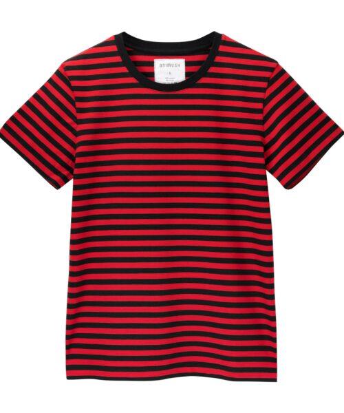 animush t-shirt oversize w czerwono-czarne paski