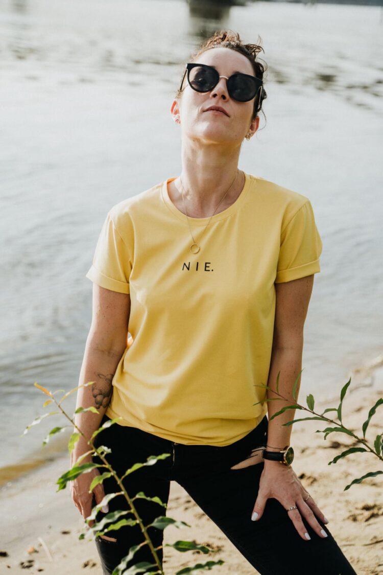 animush t-shirt oversize musztardowy nie