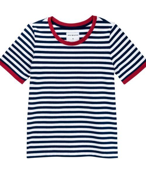 animush t-shirt ringer w biało-granatowe paski