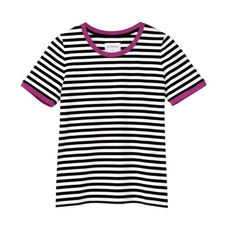 animush t-shirt ringer w paski lamówka amarantowa