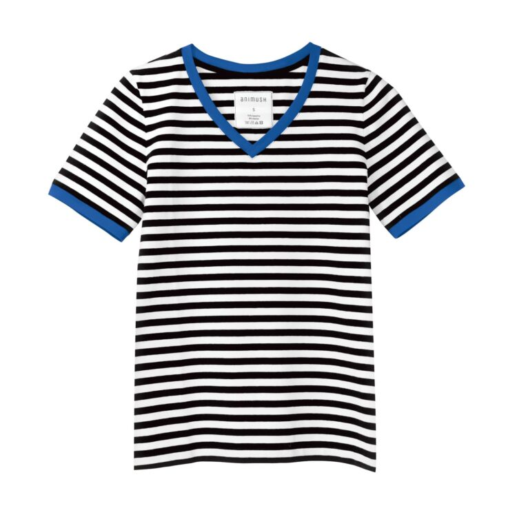 animush t-shirt ringer w paski lamówka chabrowa