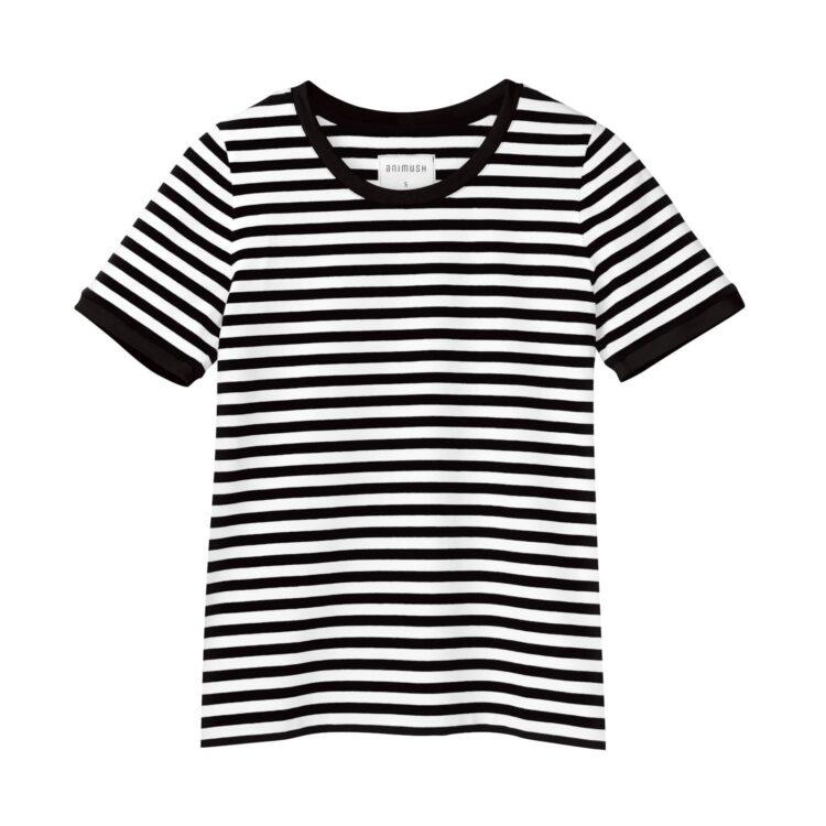 animush t-shirt ringer w paski lamówka czarna