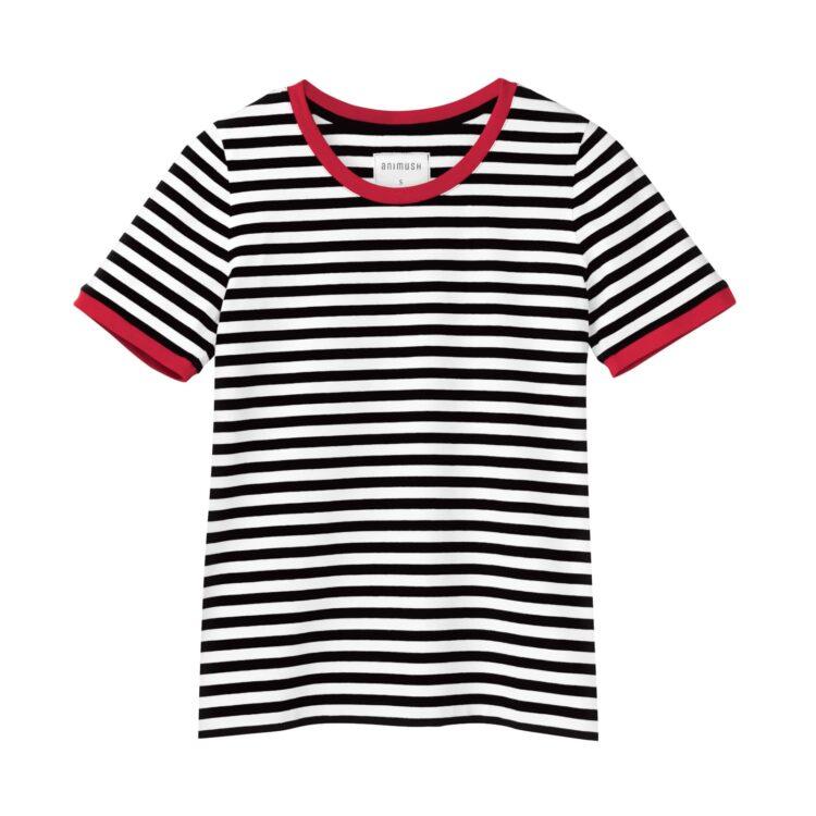 animush t-shirt ringer w paski lamówka czerwona