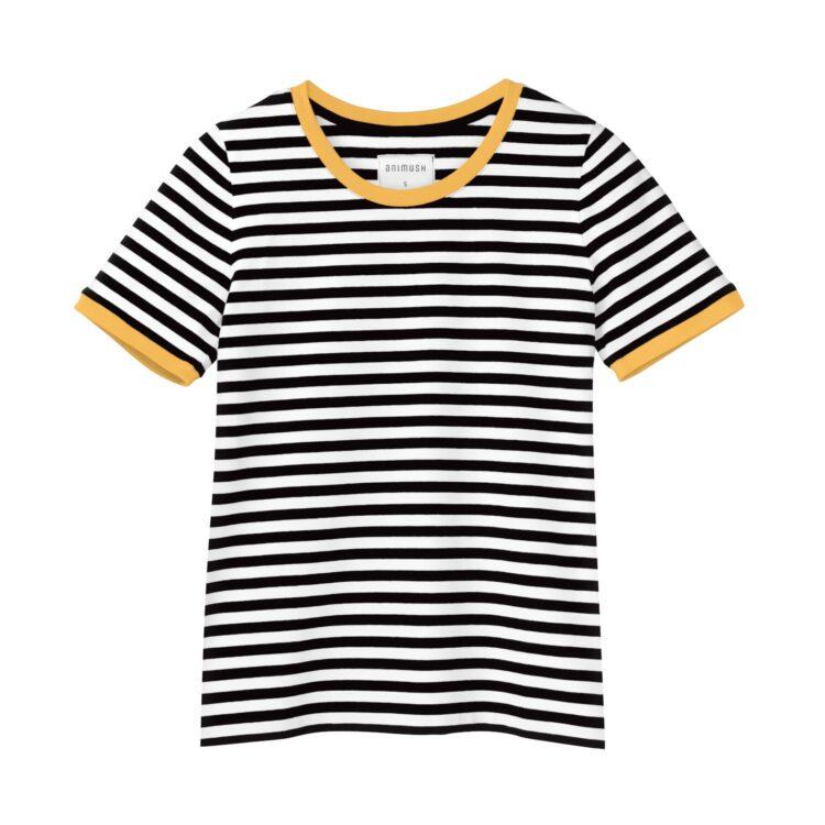 animush t-shirt ringer w paski lamówka musztardowa