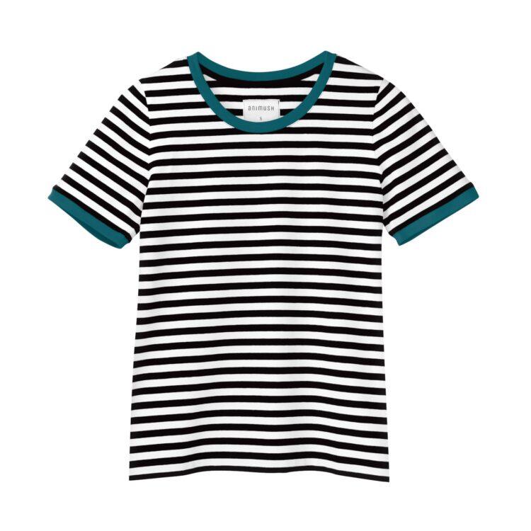 animush t-shirt ringer w paski lamówka szmaragdowa