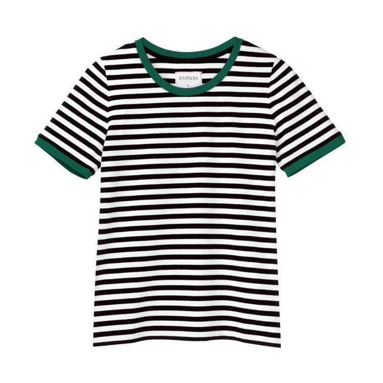 animush t-shirt ringer w paski lamowka zielona