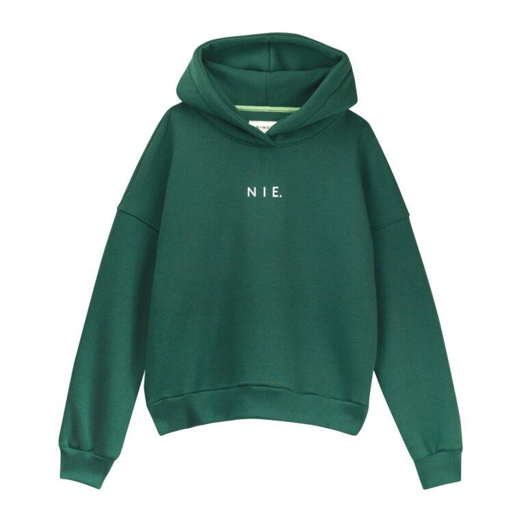 Bluza hoodie zielona butelkowa nie